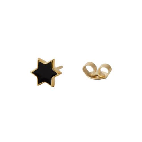 Design Letters Ohrstecker Emaille Stern schwarz gold