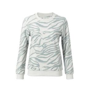 YAYA Pullover mit Animal Print Blau-Weiß