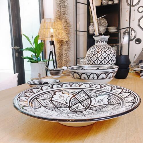 Marokkanische Vase Peacook Schwarz Weiß L