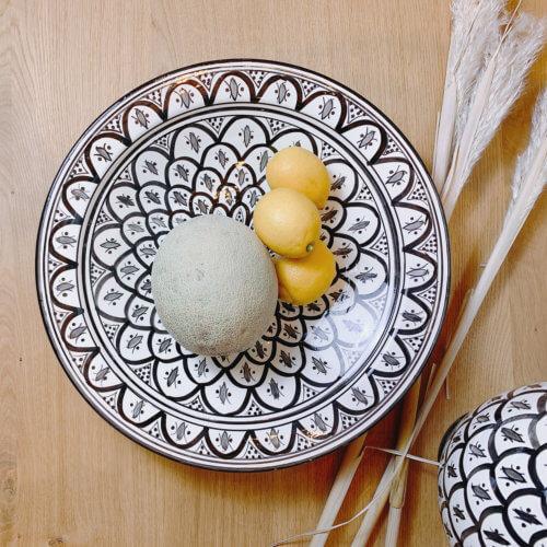 Marokkanischer Teller Peacook Schwarz Weiß