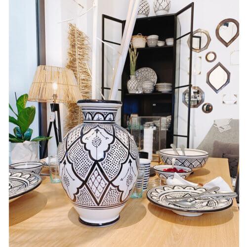 Marokkanische Vase Schwarz Weiß Keramik