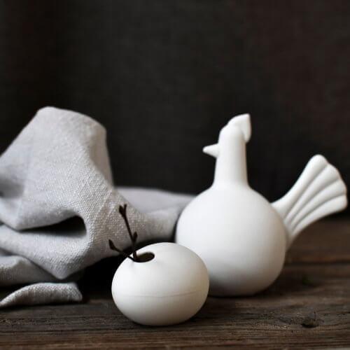 Keramik-Henne Weiß M