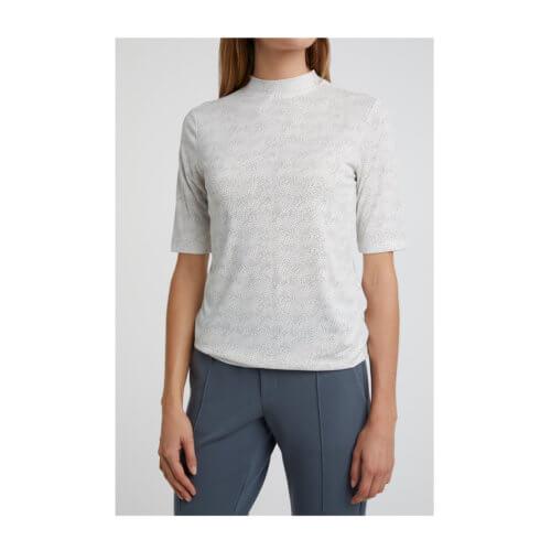 YAYA Shirt mit Stehkragen und Punkte-Print