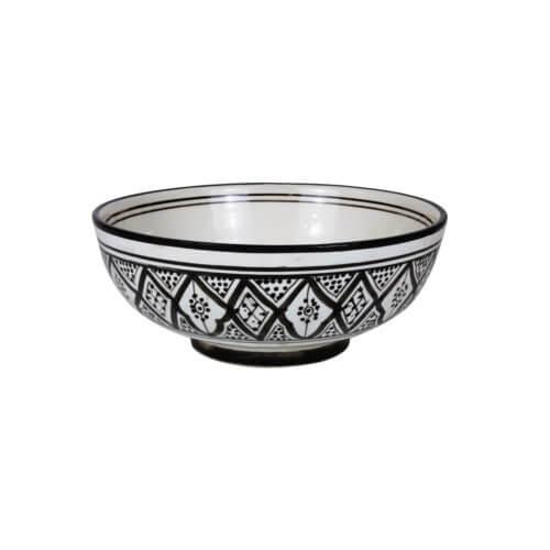 Marokkanische Suppenschale Schwarz-Weiß L