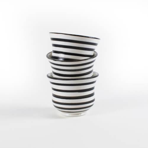 Marokkanische Tasse Streifen Schwarz-Weiß