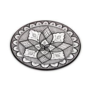 Marokkanischer Teller Schwarz Weiß L