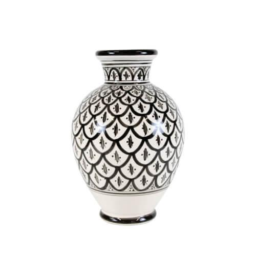 Marokkanische Vase Peacock Schwarz-Weiß L