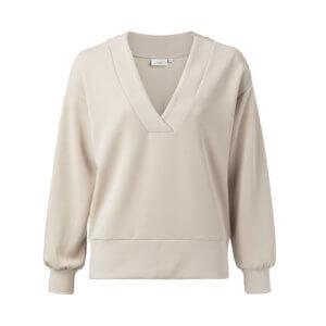 YAYA Modal Pullover Beige mit V-Ausschnitt