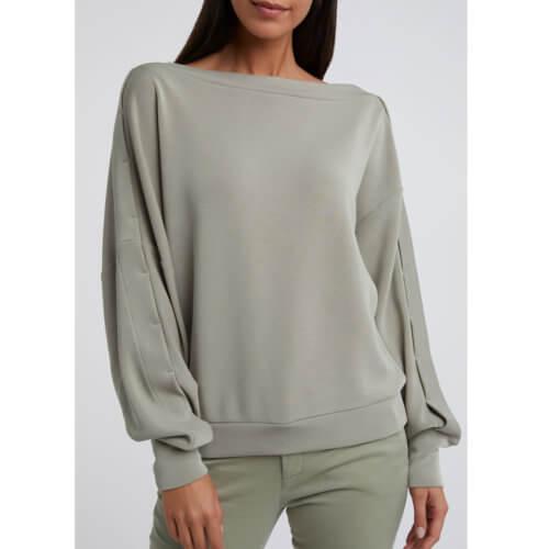 YAYA Modal Pullover Schulterfrei Grün