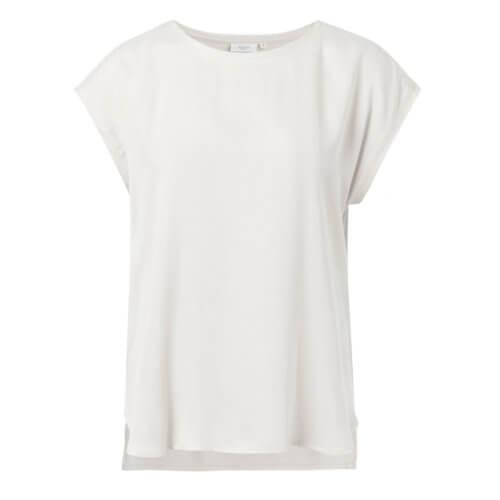 YAYA Cupro-Shirt im Materialmix Weiß
