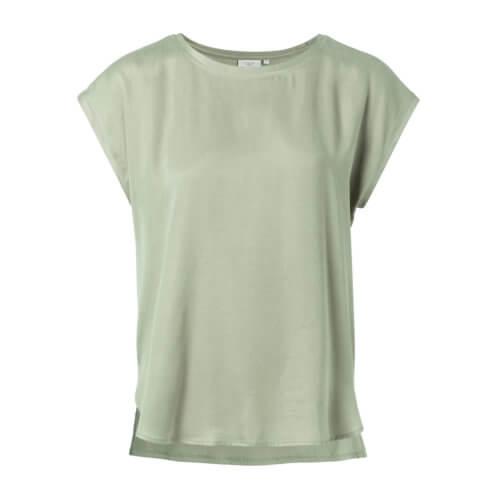 YAYA Cupro-Shirt Grün im Materialmix