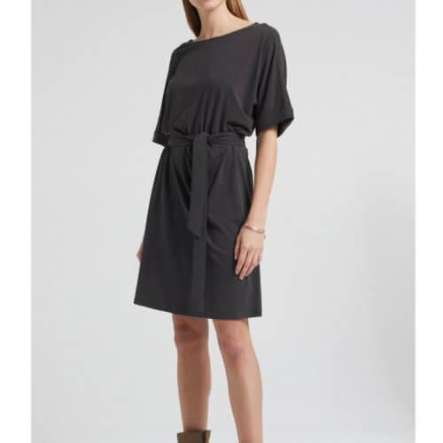 YAYA Modal Kleid Schwarz mit Ärmelaufschlag