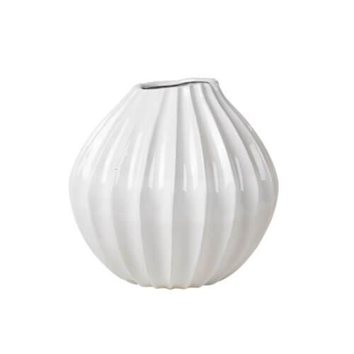 Broste Vase Rillen Weiß