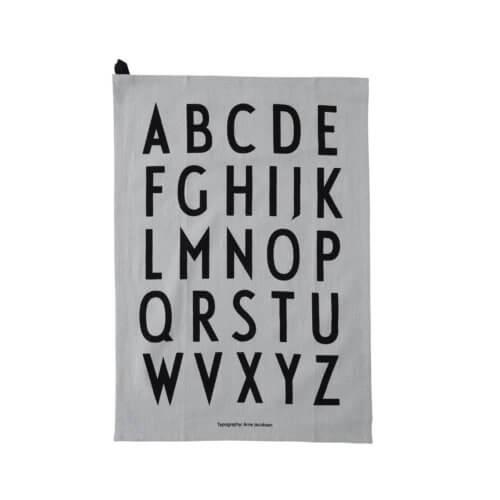 Design Letters Geschirrtuch Grau A-Z (2er Set)