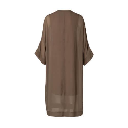 YAYA Kimono-Kleid Braun mit Gürtel