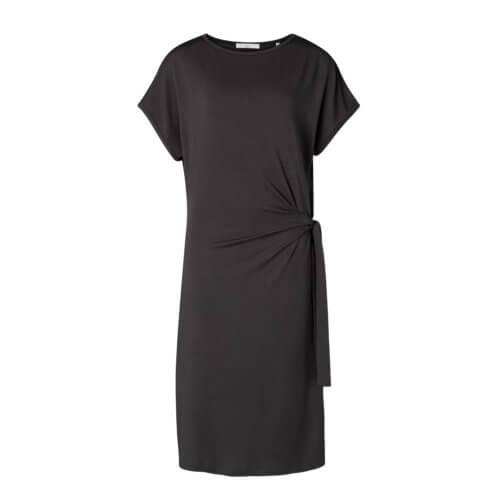 YAYA Modal Kleid Schwarz mit eleganter Raffung