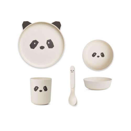 LIEWOOD Kindergeschirr Bambus Panda Cremé
