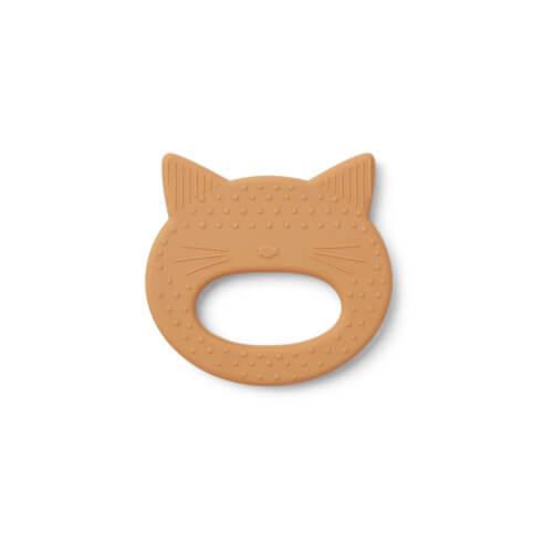 LIEWOOD Silikon-Beißring Katze Mustard