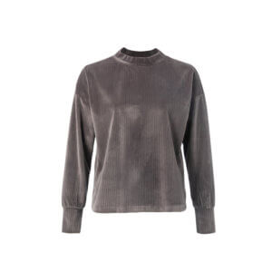YAYA Ripp-Pullover Samt Grau