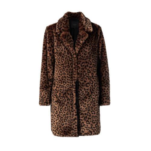 YAYA Kunstfell-Leopardmantel Braun