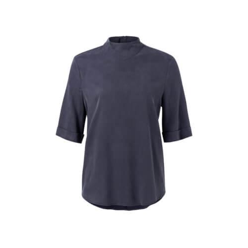 YAYA Cupro-Shirt Nachtblau mit hohem Kragen