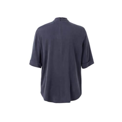 YAYA Cupro-Shirt Nachtblau mit hohem Kragen, Rückansicht