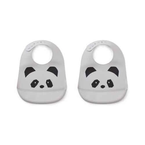LIEWOOD Silikon-Lätzchen Panda Grau