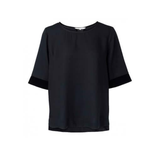 YAYA Cupro-Shirt Schwarz mit Samtdetails