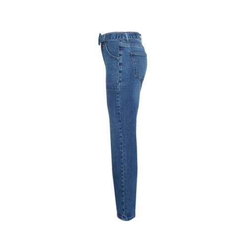 Moss Copenhagen Mom-Jeans Blau, seitlich