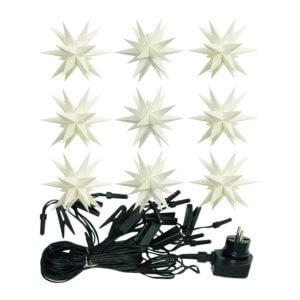 STIL 9er Sternen-Lichterkette Weiß Ø 12 cm Indoor / Outdoor