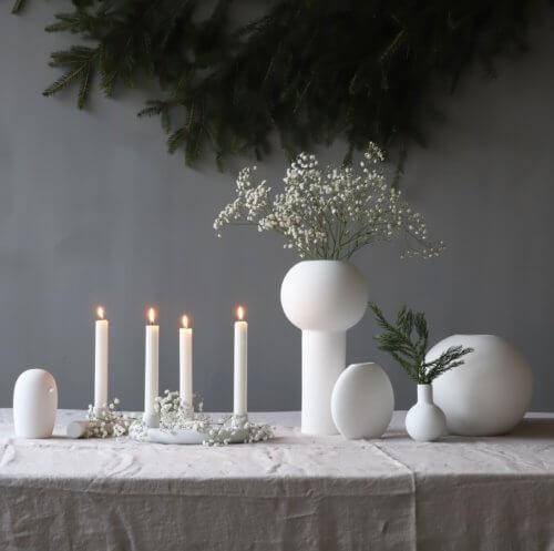 Broste 8er Set Kerzen Weiß