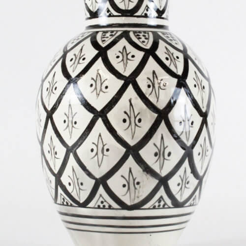 Marokkanische Vase Peacock Schwarz-Weiß M B-Ware