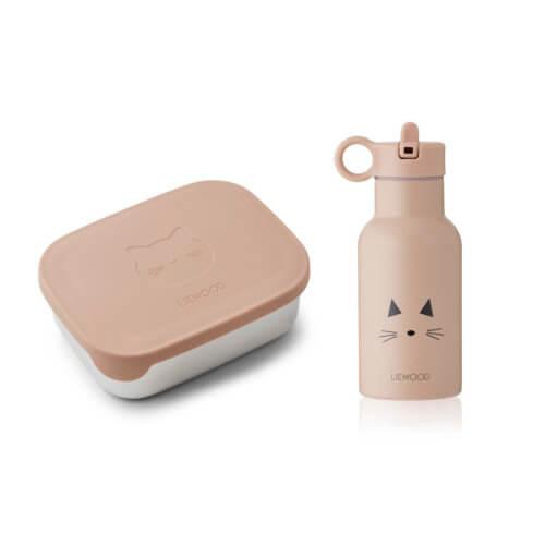 LIEWOOD Lunchbox-Set Katze Rosé