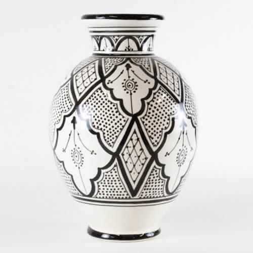 Marokkanische Vase Schwarz-Weiß B-Ware