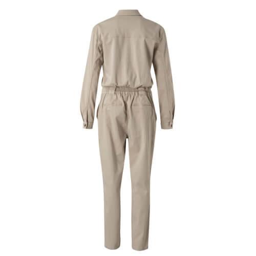 YAYA Jumpsuit mit Taschen und Druckknöpfen Sand Rückseite