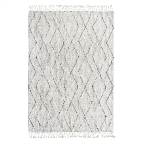 HK Living Berberteppich Karo Weiß-Schwarz– ca. 140 x 200 cm