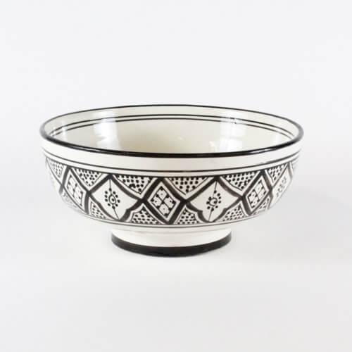 Marokkanische Suppenschale Schwarz-Weiß L B-Ware