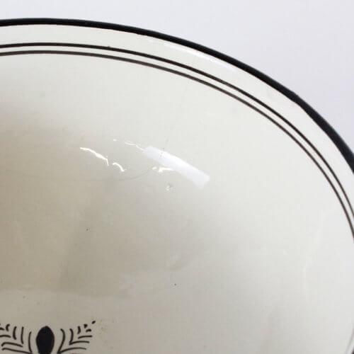 Marokkanische Suppenschale Schwarz-Weiß L B-Ware, Detail Innen