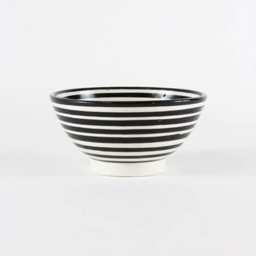 Marokkanische Schale Streifen Schwarz-Weiß B-Ware
