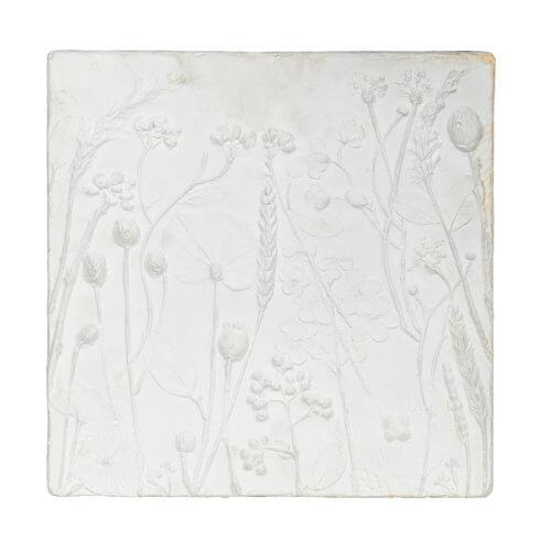 Wand-Dekoration Gips Weiß 2er-Set Tafel einzeln frontal 2