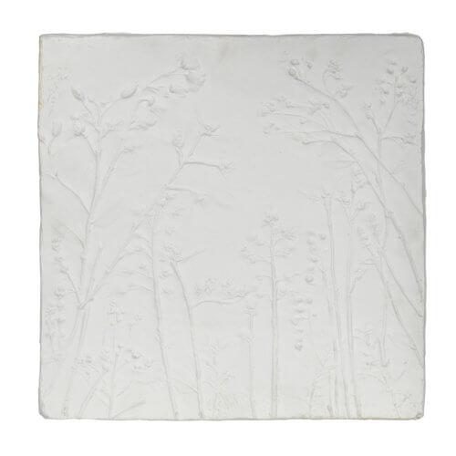 Wand-Dekoration Gips Weiß 2er-Set Tafel einzeln frontal
