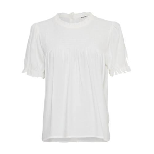 Moss Copenhagen Rüschenärmel-Shirt Weiß