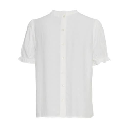 Moss Copenhagen Rüschenärmel-Shirt Weiß Rückseite
