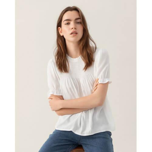 Moss Copenhagen Rüschenärmel-Shirt Weiß Mood
