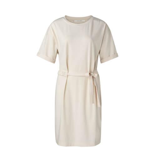 YAYA Jersey-Kleid Creme mit Raffung