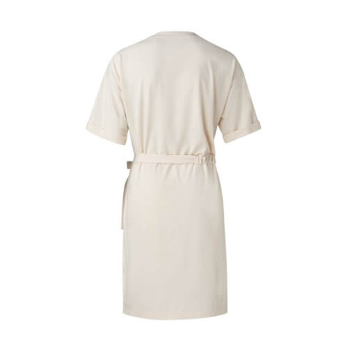 YAYA Jersey-Kleid Creme mit Raffung Rückseite