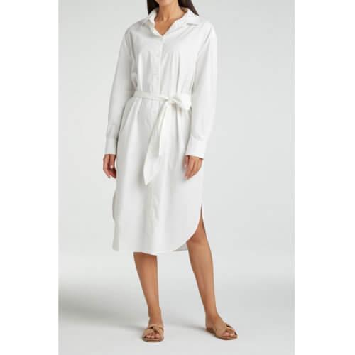 YAYA Hemdkleid Midi Weiß mit Gürtel Mood