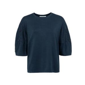 YAYA Modalsweater mit kurzen Ballonärmeln Dunkelblau